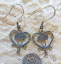"""STERLING SILVER HEART DANGLE earrings, BALI STERLING EARWIRES 1"""" dangle"""