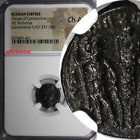 Roman Empire House of Constantine Constantine II AD 337-340 AE Nummus NGC Ch AU