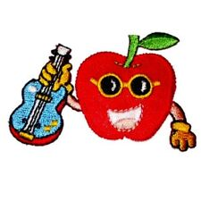 IRON ON PATCH APPLIQUE - APPLE WITH GUITAR