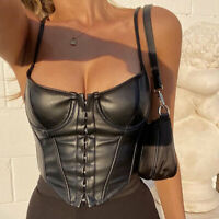 New Women's Corset Sexy Black PU Leather Bustier Crop Top Sleeveless Clubwear