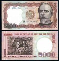 PERU 5000 (5,000) Soles De Oro, 1985, P-117, Miners, UNC World Currency