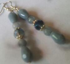 Blue Jade Teardrop & Crystal Earrings-Sterling Hooks -Combined Shipping