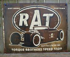 RAT Hot Rod Custom Tin Sign Ford Chevy Muscle Car V8 Garage Man Cave Skull 21a