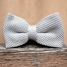 The Knitted Bow- Bow Tie- Pre Tied- Light Grey- Adjustable Collar- On Trend