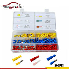 260Pcs Insulated Female & Male Bullet Butt Connector wire Crimp Terminals New