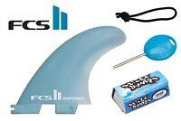 FCS 2 II Small Performer Glass Flex Thruster Set + Leash String, Fin Key, & Wax