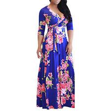 Summer Women's Vintage Boho Floral Long Maxi Dress Beach Cocktail Party Sundress