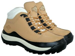LADIES HONEY LEATHER UPPER STEEL TOE-CAP LACE UP SAFETY WORK BOOT IN SIZE 7