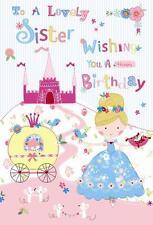 To A Lovely Sister Cinderella Coach & Slipper Design Modern Happy Birthday Card
