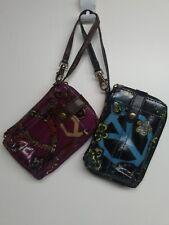 "Mudd Glazed Wristlet Wallets Lot of 2, Blue/Black & Purple 4 1/4"" x 7"" x 1/2"""