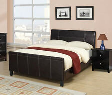 NEW CILLIAN CONTEMPORARY ESPRESSO BYCAST LEATHER QUEEN SLEIGH BED