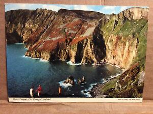 Slieve League Co Donegal Ireland Village of Carrick Cliffs Coast Vtg Postcard