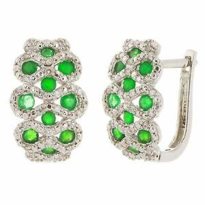 14k White Gold 0.20ctw Emerald & Diamond Basket Weave Half Hoop Earrings