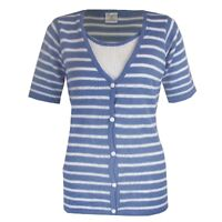 LADIES BLUE NAUTICAL SHORT SLEEVE WOMENS CARDI JUMPER TOP SWEATER SIZES 10-16