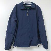 Vtg LL Bean Men's Navy Blue Reversible Nylon Fleece Full Zip Jacket Size Large
