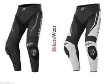 Alpinestars TRACK Leather Motorcycle Trouser Pants Black / WHITE/Black