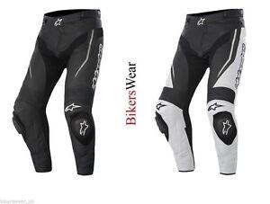 Alpinestars TRACK Leather Motorcycle Trouser Pants Black / WHITE/Black