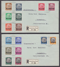 Luxembourg Sc N1-N16 cplt on 2 REGISTERED Covers VF