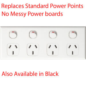 Quad Power Point 4 Gang Socket Outlet GPO White 10AMP AU Compliance