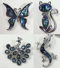 Fashion Natural Abalone Shell Brooches Lot 6Pcs Mixed Animal Heart