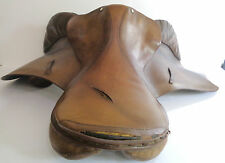 Vintage Michael Longland Sellier Cheval Dos Selle en cuir marron (Angleterre made)