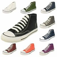 Ladies Spot On Canvas Lace Up Hi-Top Pumps with White Toe Post X0002