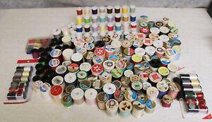 Lot 204 Spools Vintage & Modern Spools of Thread + Spool Holder + Sewing Kit...