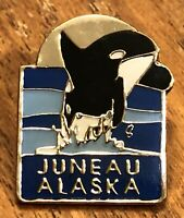 Juneau Alaska Killer Whale Travel Souvenir Lapel Hat Pin Pinback ~ Capitol City
