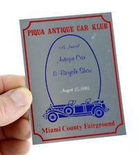 1985 Piqua Ohio Antique Auto Car & Bicycle Show plate plaque Old Sign Fairground