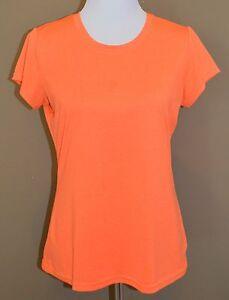 Champion Women's Athletic Running Shirt Orange Loose Fit Short Sleeve Size M