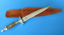 Custom Hand Made Mexico Boot Knife - RECUERDO Dual Edge Dagger Flying Crane Etch