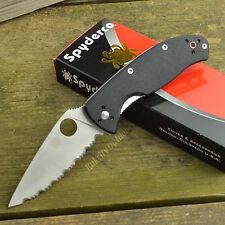 Spyderco Tenacious 8Cr13MoV Fully Serrated G-10 Folding Linerlock Knife C122GS