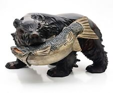 More details for beautiful dramatic hand carved bear grasps a fish in its mouth. carved injapan
