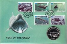Isle of Man 1998 Numisbrief Münze Coin Year of the Ocean Shark 1 Crown unc.