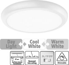 16w White Slim LED Oyster Ceiling Light Dimmable Selectable Colour WW CW DL