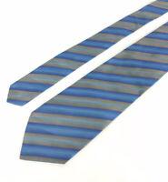 Paul Stuart by Drakes Made in England Blue Silk Tie w//Orange Madder Print