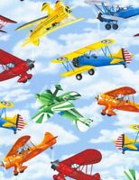 Propeller Airplanes in the Sky Cotton Fabric by Timeless Treasures