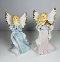 Set of 2 Porcelain Angel 👼 Figurines Glossy Gold Trimmed Wings Violin