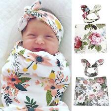 Newborn Baby Floral Swaddle Wrap Swaddling Sleeping Bag Blanket & Headband Set