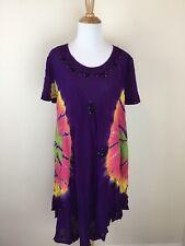 Women's India Boutique Tie Dye Purple One Size BEACH Boho Festival Dress Sheer