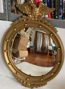 """LARGE 33"""" CARVED WOOD AND GESSO FEDERAL EAGLE BULLSEYE CONVEX MIRROR 1890'S GILT"""