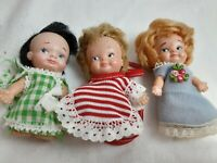 "Vintage Lot of Pee Wee's Dolls 3"" - 3 1/4"" with Clothes 3 Piece Dolls"