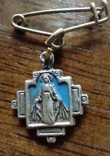 Vintage Catholic Blue Enamel Mary Religious Medal