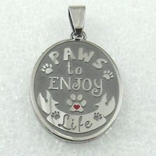 "Inspirational Dog Paw Print Necklace Stainless Steel ""Paws to Enjoy Life: 19-21"""