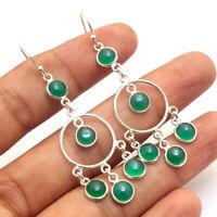 Green Onyx Gemstone 925 Sterling Silver Jewelry handmade dangle Earrings