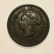1881 H Canada Cent Coin, Victoria, KM# 7, VF