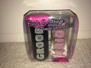 Bride And Groom Pimpin' Shooters Jeweled Double Shot Glass Set Novelty Gag Gift