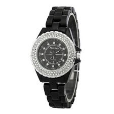 Alias Kim Silver Crystal Bezel Black Ceramic Bracelet Women's Quartz Watch F237