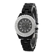 Alias Kim Silver Crystal Bezel Black Ceramic Bracelet Band Women's Quartz Watch