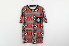 Neff Streetwear Mens Small Southwestern Navajo Print Spell Out Pocket T-Shirt